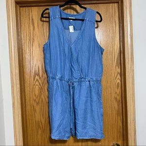 Denim romper with empire waist and draw string